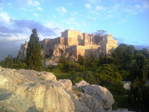 The Acropolis at dusk